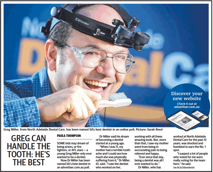 Image: Dr Greg Miller Voted SA's Best Dentist (Adelaide Advertiser)